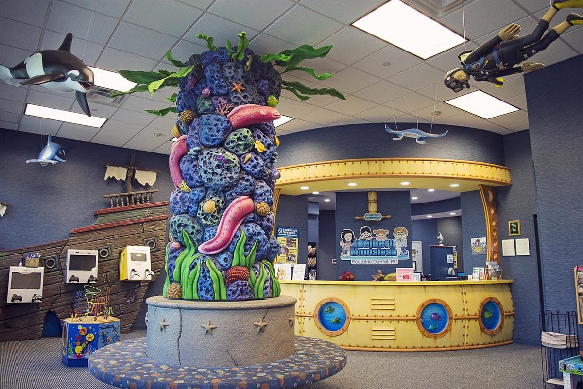 nautical themed waiting area with toys for children